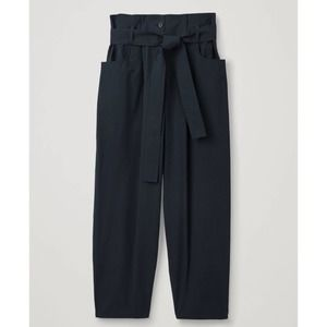 COS Navy Cotton Paper Bag Pants Trousers Size 10